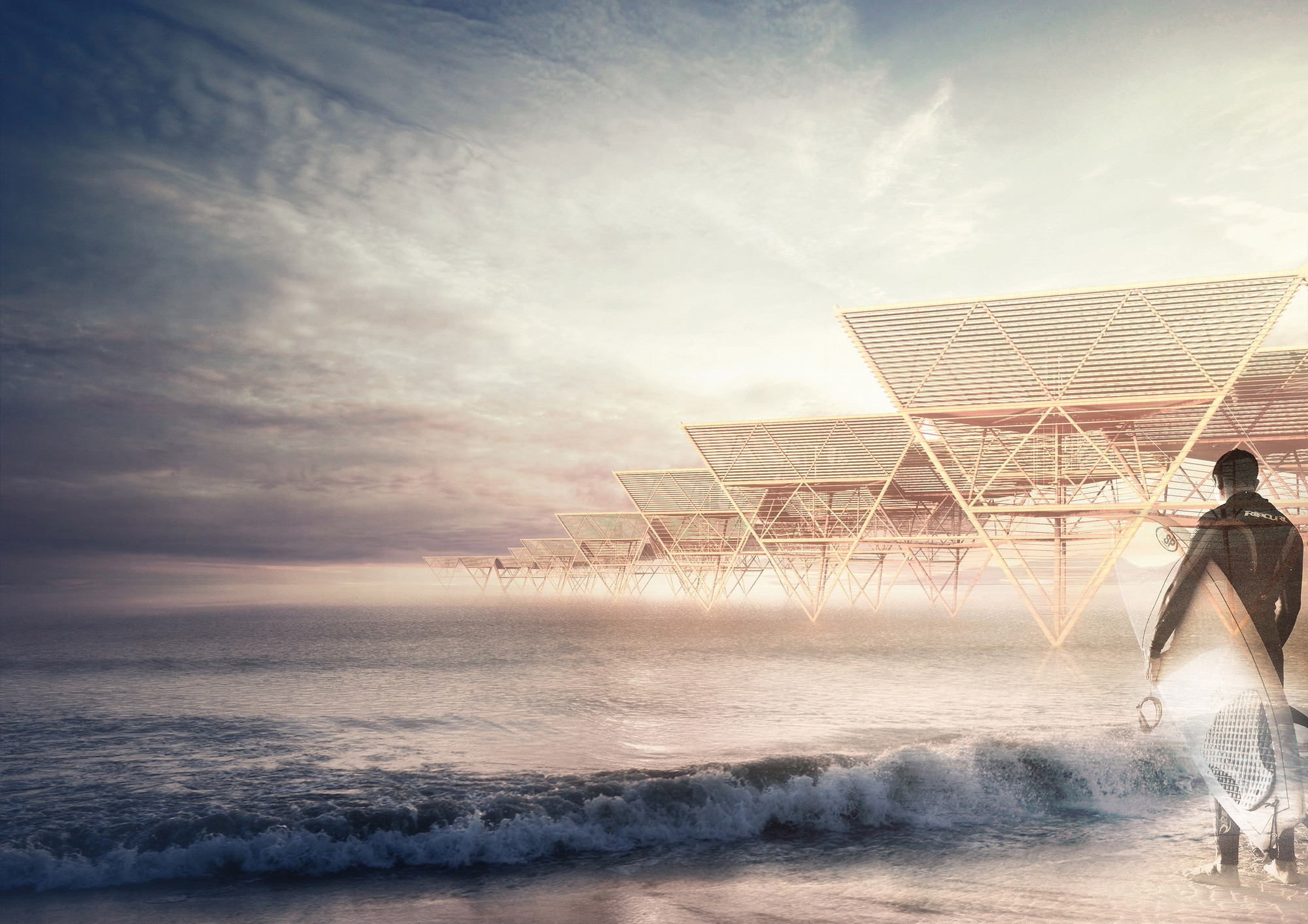 Barberio Colella ARC's Lanterns Sea Village Proposes Non-Invasive Ocean Dwellings for Surfers, Sea Lanterns Village. Image Courtesy of Barberio Colella ARC