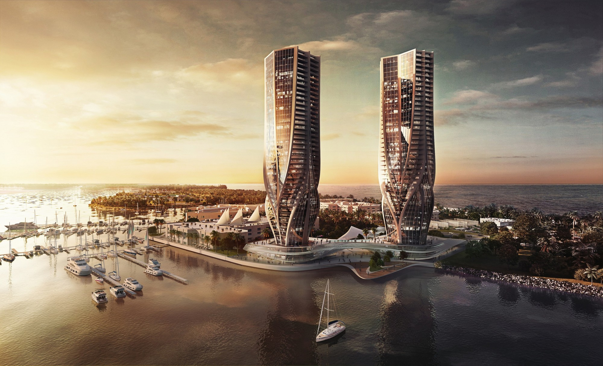 "Zaha Hadid Designs Two ""Sculptural"" Towers for Australia's Gold Coast, Courtesy of Sunland Group"