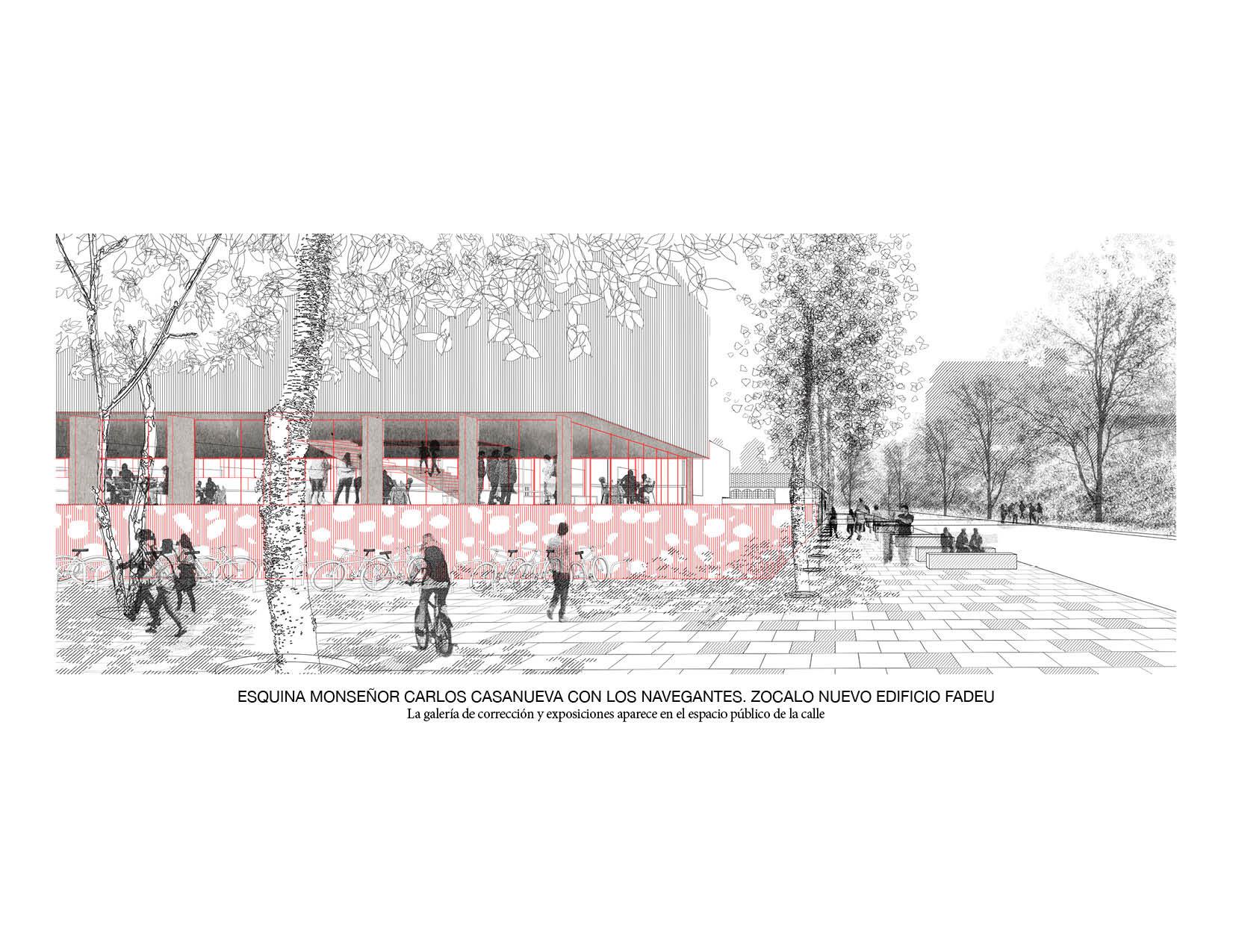 Zócalo del nuevo edificio FADEU. Image Cortesia de Beals + Lyon Arquitectos