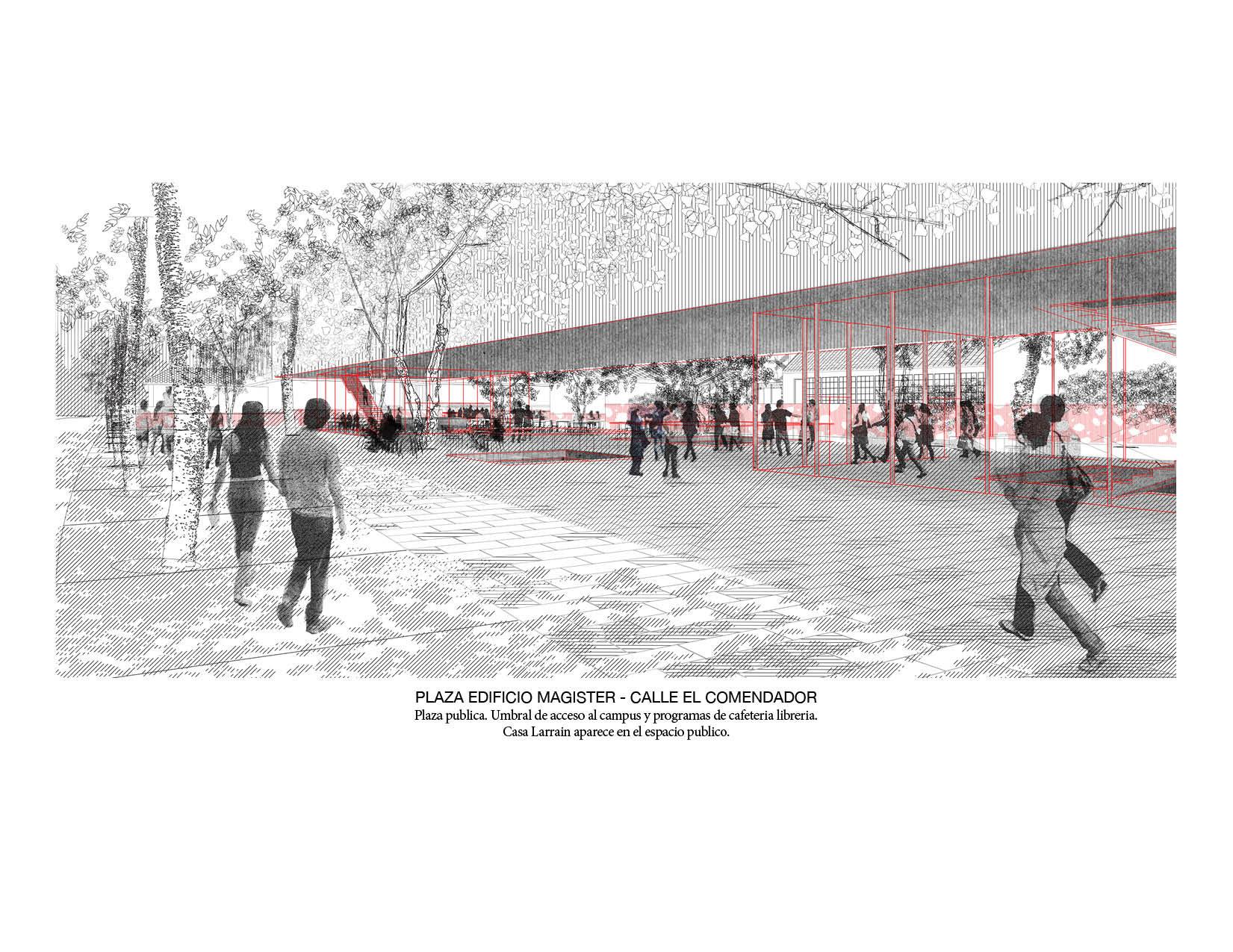 Plaza pública del edificio Magíster. Image Cortesia de Beals + Lyon Arquitectos