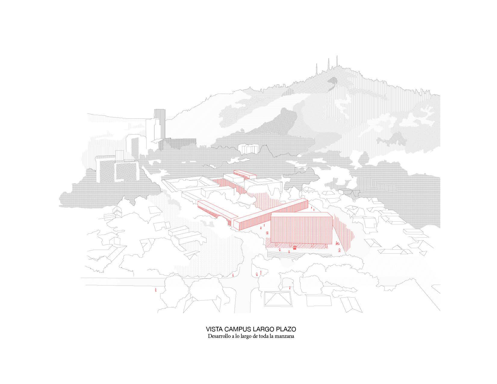 Axonométrica del campus según Plan Maestro. Image Cortesia de Beals + Lyon Arquitectos