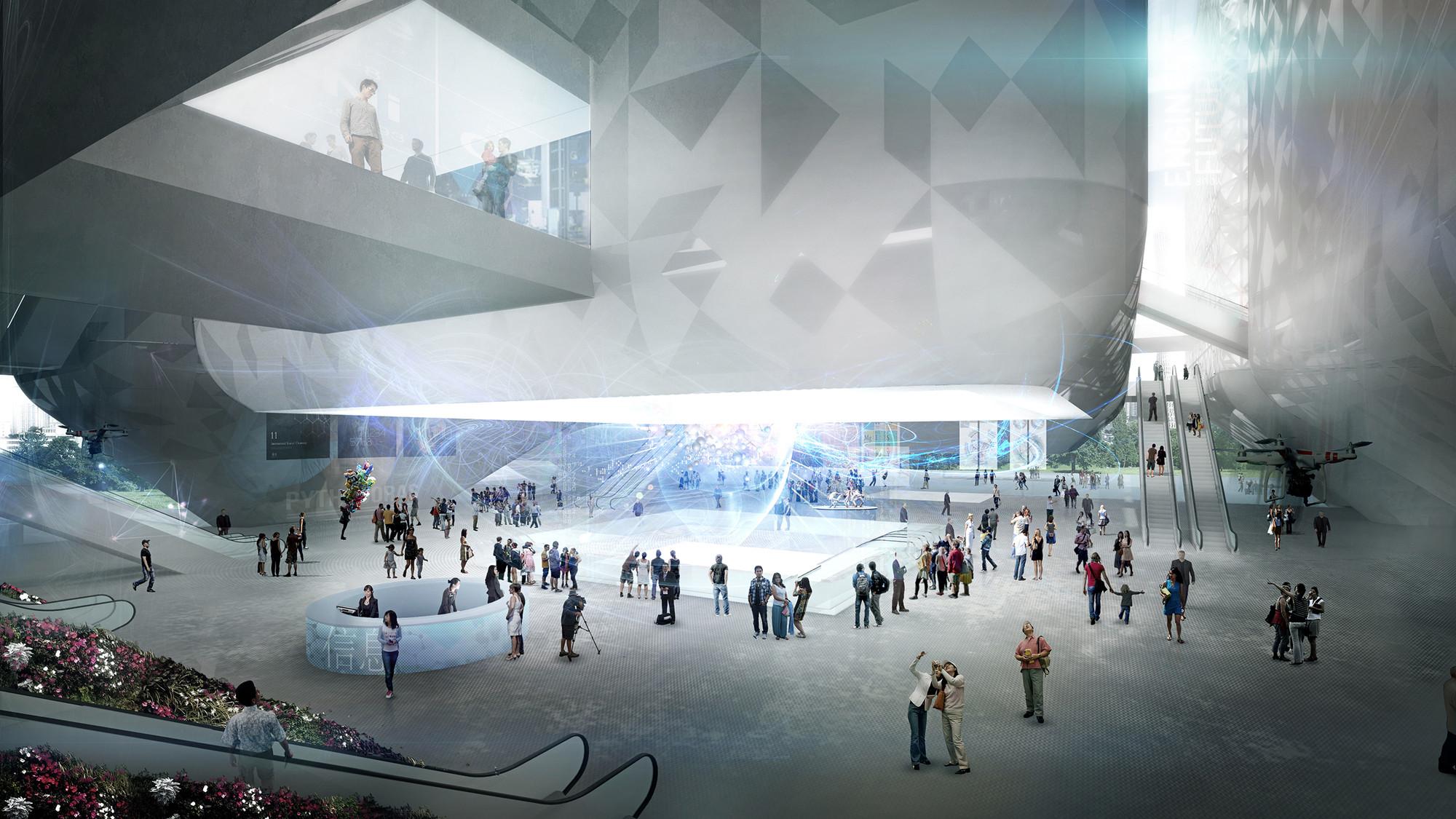 Museo de la Ciencia de Guangzhou: vista interior.. Image Cortesia de Nieto Sobejano Arquitectos
