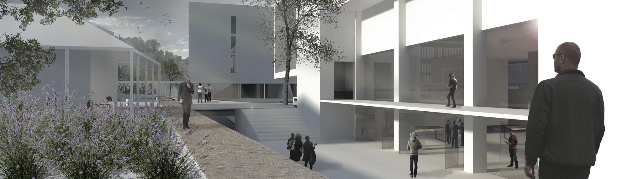 Patio de la escalera sur. Image Cortesia de Baixas & del Río Arquitectos
