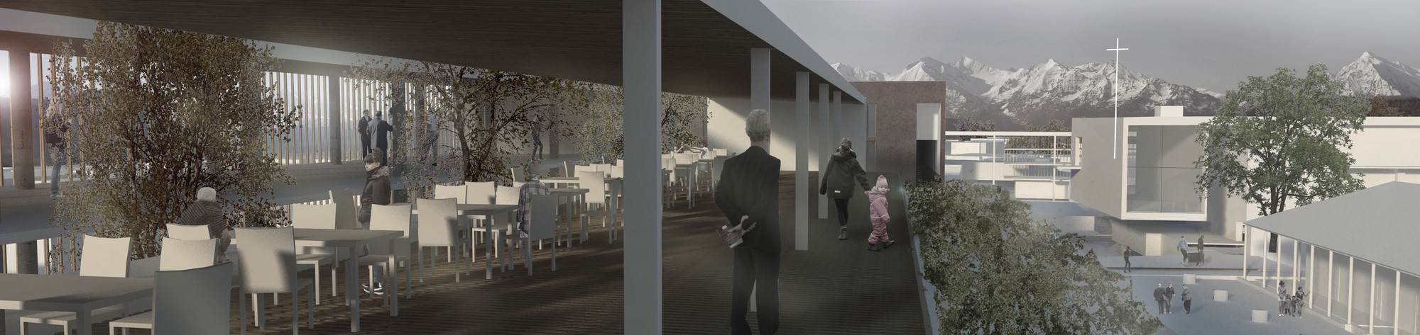 Terraza de talleres. Image Cortesia de Baixas & del Río Arquitectos