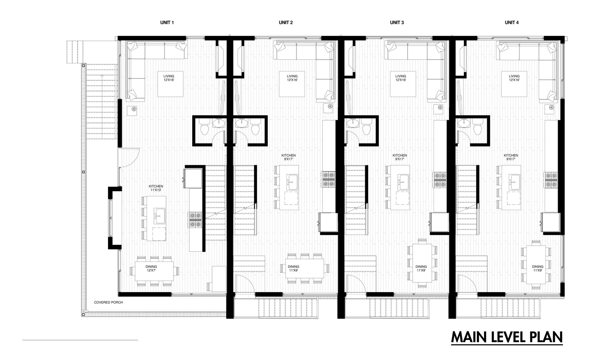 Row house plans row house plans town home plans six units for Houses layouts floor plans