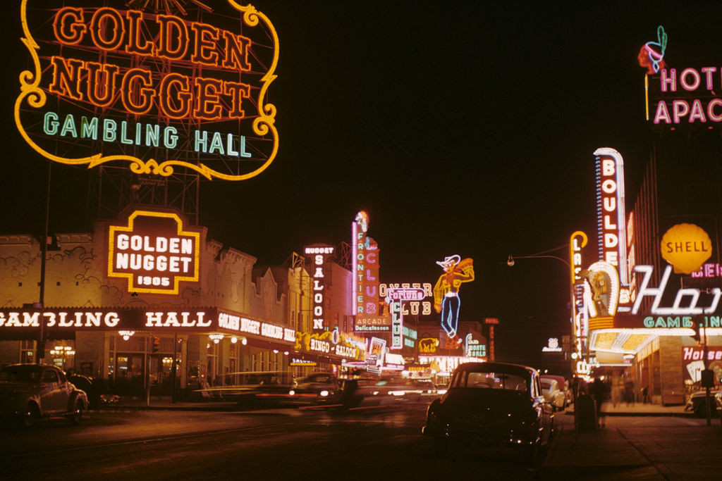 Light Matters: A Flash Back to the Glittering Age of Las Vegas at the Neon Museum, Fremont Street at night in Downtown Las Vegas in 1952. Image © Edward N. Edstrom (Public Domain via Wikimedia)