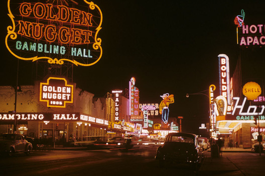 Fremont Street at night in Downtown Las Vegas in 1952. Image © Edward N. Edstrom (Public Domain via Wikimedia)