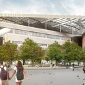 Bloomberg Center exterior rendering. Image © Morphosis Architects