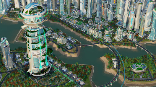 "Architecture from the SimCity expansion pack ""Cities of Tomorrow"". Image © simcity.com"