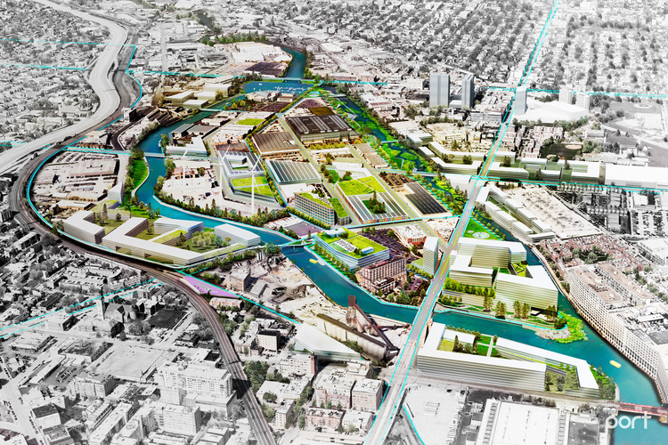 An oblique aerial view of the Goose Island proposal. Image Courtesy of PORT