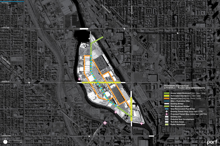 Diagram of proposed transportation improvements for Goose Island. Image Courtesy of PORT