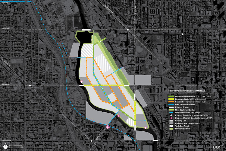 Diagram of the Goose Island proposal. Image Courtesy of PORT