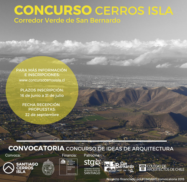 Convocatoria del concurso de ideas Cerros Isla para el corredor verde de San Bernardo / Chile