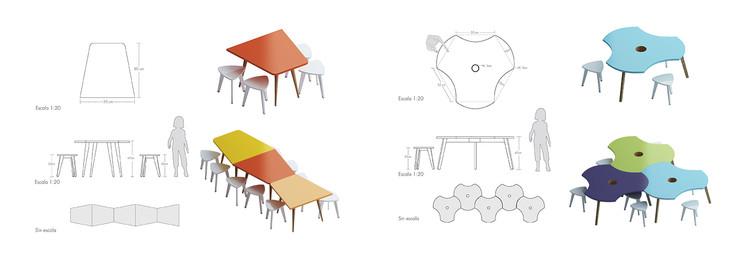 Muebles móviles. Image Cortesia de FP arquitectura