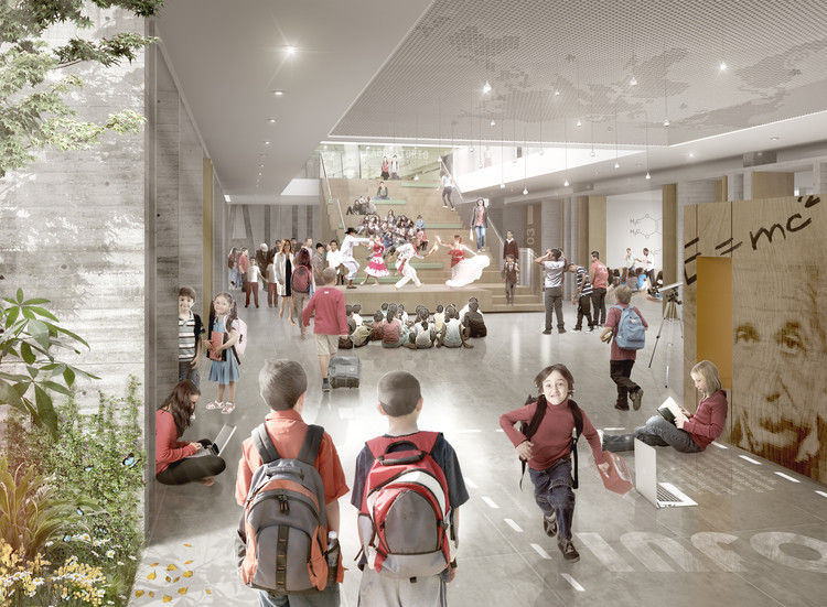 Interior de zona educación secundaria. Image Cortesia de Colectivo 720