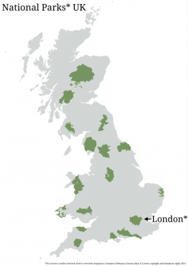 Comparación entre Parques Nacionales de Reino Unido y Londres. © Greater London National Park.