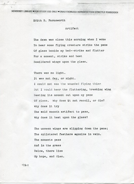 "Edith B. Farnsworth, ""Artifact,"" unpublished poem.  [BACK] Courtesy and copyright of Newberry Library, Chicago, Illinois."