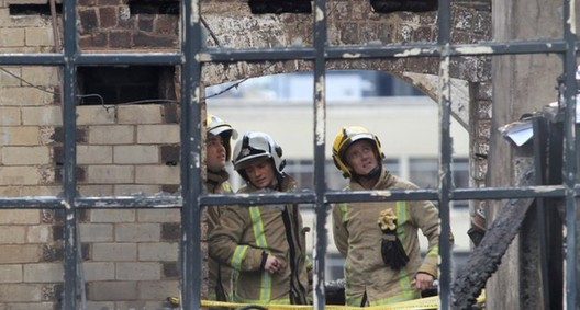 Firefighters at the Glasgow School of Art in May 2014. Image © Stewart Attwood