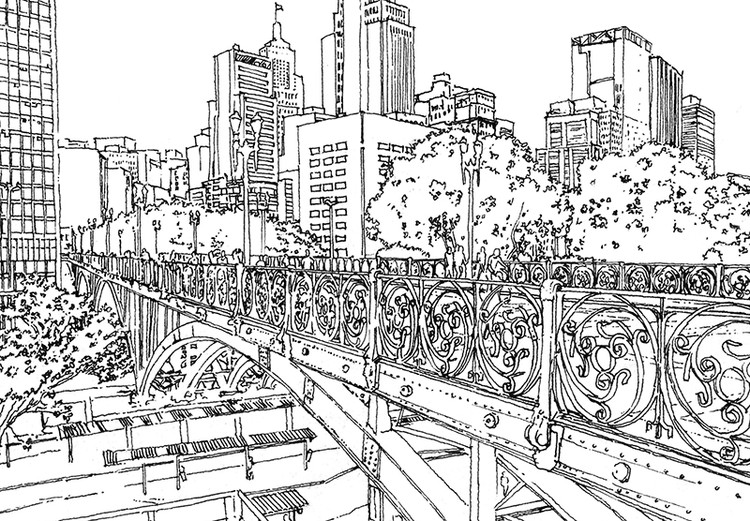 Croquis de São Paulo para colorear, por Terra Urbanismo, Viaduto Santa Ifigênia, São Paulo. Imagen Cortesía de Terra Urbanismo