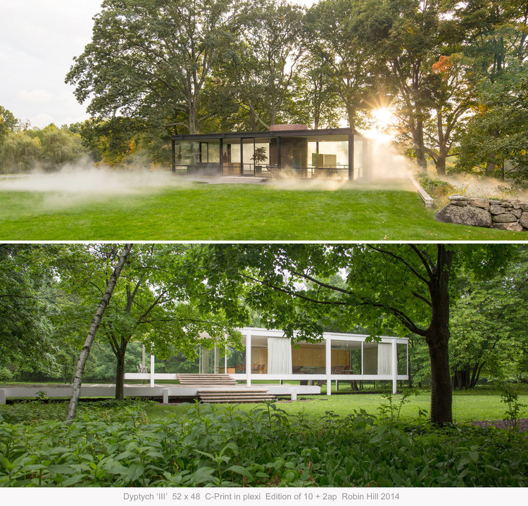 Exhibition: Side by Side: Philip Johnson's Glass House and Mies van der Rohe's Farnsworth House, Exhibition print for Side by Side. Top: The Glass House. Bottom: The Farnsworth House
