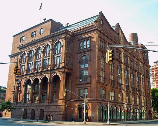 The Foundation Building of the Cooper Union, which <a href='http://www.nytimes.com/1972/12/20/archives/1859-cooper-union-building-shut-for-2year-renovation.html'>underwent a major renovation by Hejduk in 1975</a>. Image © <a href='https://commons.wikimedia.org/wiki/File:Cooper_Union_by_David_Shankbone_crop.jpg'>Wikimedia user DavidShankbone</a> licensed under <a href='https://creativecommons.org/licenses/by-sa/3.0/deed.en'>CC BY-SA 3.0</a>