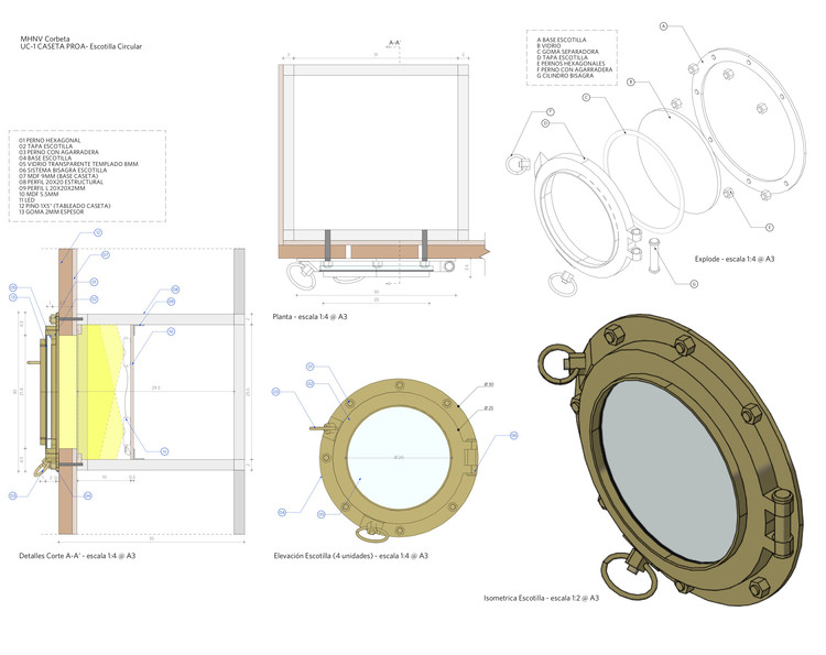 Escotilla circular caseta proa - sala Corbeta