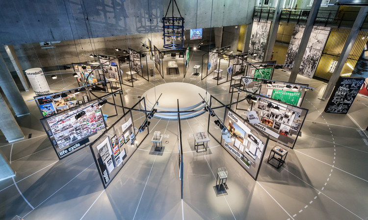 'What is The Netherlands?' Exploring the World Expo at Rotterdam's Nieuwe Instituut, Based on a circular framework inspired by Frédéric Le Play's design for the 1867 WE in Paris in which the 14 historic Dutch World fair entries are 'equal'. Image © Peter Tijhuis