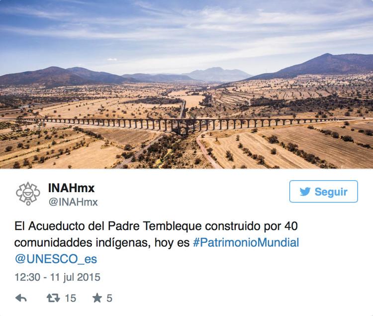 Vía Twitter. El Acueducto del Padre Tembleque construido por 40 comunidaddes indígenas, hoy es #PatrimonioMundial @UNESCO_es