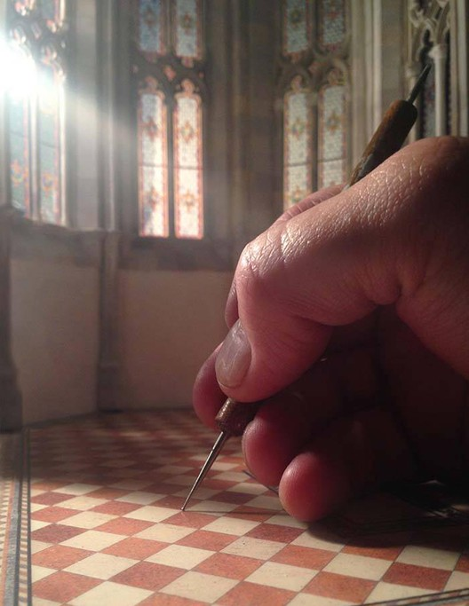 See How a Brooklyn Artist is Creating a Miniature Scale-Model of a Gothic Cathedral from Scratch, Apse Floor. Image Courtesy of Ryan McAmis