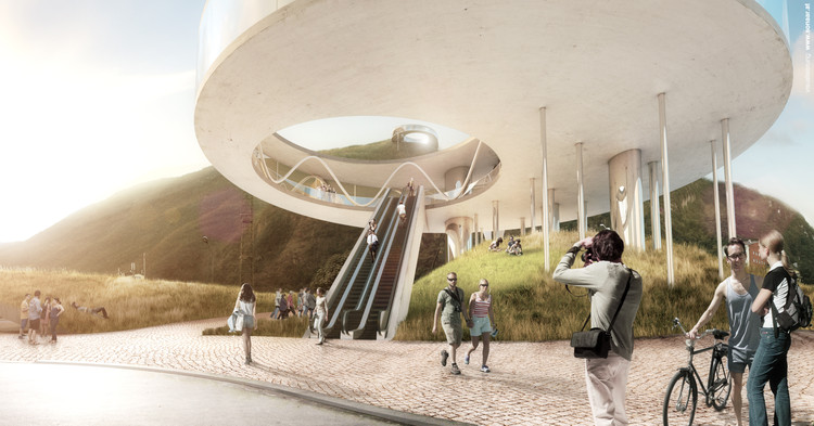 Snøhetta Selected to Design Cable Car for Bolzano in Italy, Base station. Image © Snøhetta