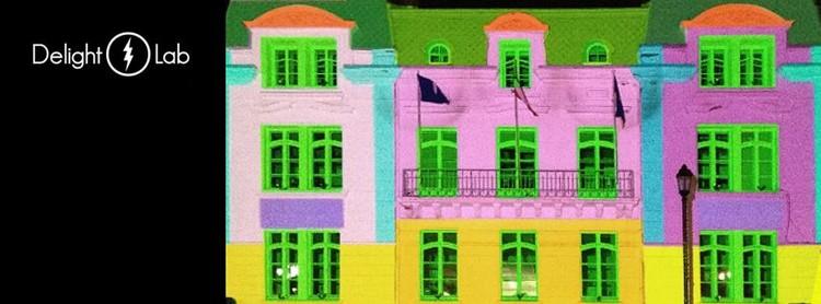 """Courtesy of Delight Lab. Image""""Luz Austral, un viaje por la Patagonia"""", mapping en INACH"""