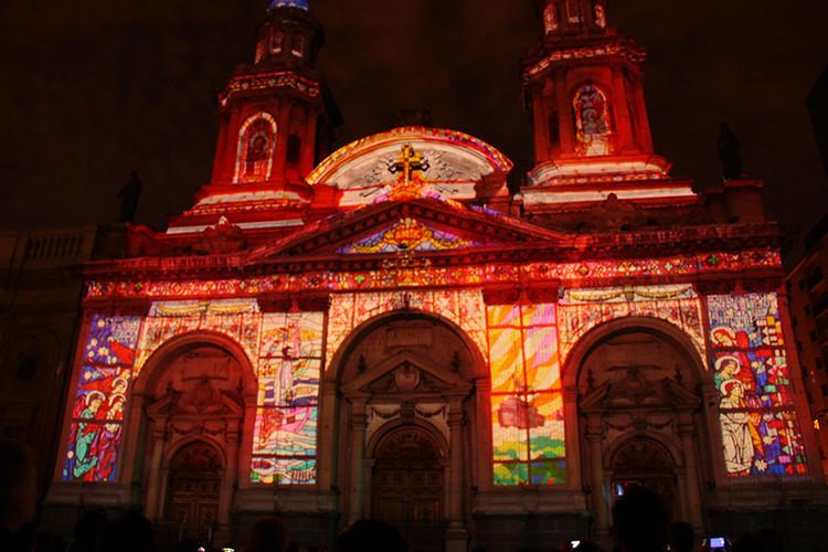 """Mapping """"Luz de Luz"""" Catedral de Santiago. Image Cortesía de Delight Lab"""