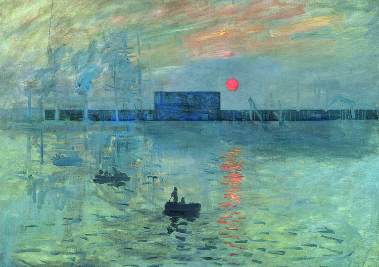 """Diseño insertado en el cuadro """"Soleil Levant"""" de Monet. Imagen cortesía de Alberto Campo Baeza"""