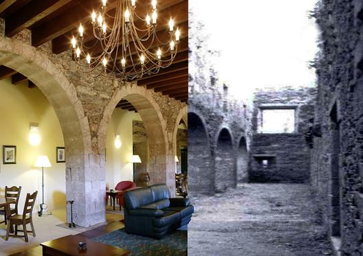 Fotomontaje del antes y el después de uno de los salones del actual Hotel Monasterio de Aciveiro (Forcarei, Pontevedra). Image © Proxecto ARGA