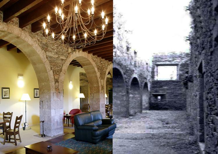 Proxecto ARGA: la segunda vida de los edificios, Fotomontaje del antes y el después de uno de los salones del actual Hotel Monasterio de Aciveiro (Forcarei, Pontevedra). Image © Proxecto ARGA