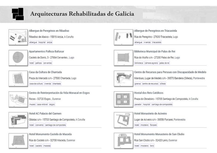 Captura de pantalla de algunas de las rehabilitaciones recogidas en la web. . Image © Proxecto ARGA