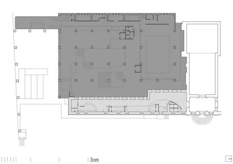 Planimetría del Museo de Bellas Artes de A Coruña (Manuel Gallego, 1988). En gris claro la preexistencia, en gris oscuro lo añadido. Image © Proxecto ARGA