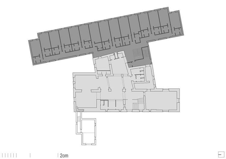 Planimetría del Hotel Pazo O Rial (Jaureguízar Azarola, 1979) en Vilagarcía de Arousa, Pontevedra. En gris claro la preexistencia, en gris oscuro lo añadido. Image © Proxecto ARGA