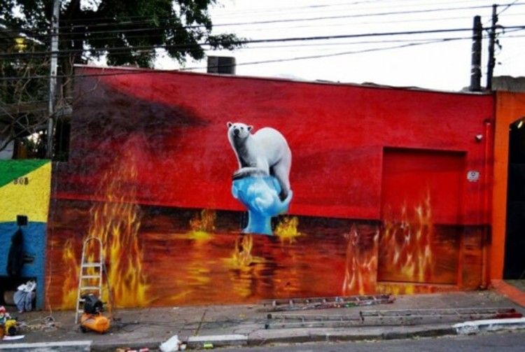 """""""El mundo se está quemando"""" por Eduardo Kobra."""