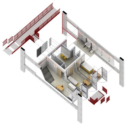 Axonométrica da habitação. Image © Grupo Garoa + Cura + Costa e Macedo Arquitetos