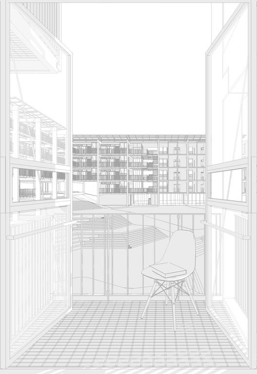 Vista do quarto. Image © Grupo Garoa + Cura + Costa e Macedo Arquitetos