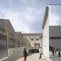 The Fondazione encompasses a veritable townscape consisting of warehouse hangars interwoven with the new buildings. The former are subtly spruced up, indicated by the linear orange markings repeated on their exterior. Elevation changes in the ground variegate the pedestrian's experience of the compound while demarcating the Fondazione's important nodes, such as the cinema clad in a mirrored veneer. Touches likes this lend the complex a haunting, almost surrealist dimension. Image © Bas Princen - Fondazione Prada