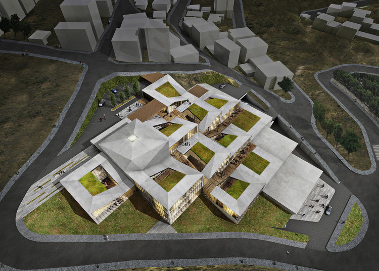 Competition Entry: Istanbul Gülsuyu Cemevi and Cultural Center, Aerial Rendered View. Image Courtesy of TAG