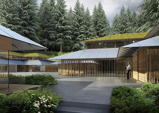 Arriving at the Cultural Village. Image © Kengo Kuma & Associates