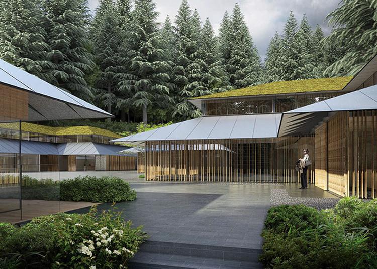 """Kengo Kuma diseña """"Villa Cultural"""" para el jardín japonés de Portland, Acceso a la Villa Cultural. Imagen © Kengo Kuma & Associates"""