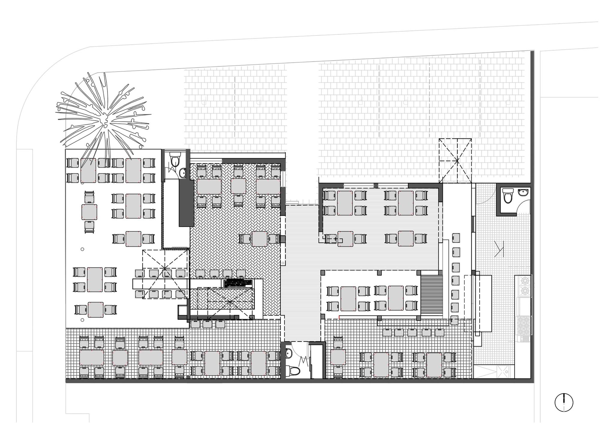 Galer a de glitch bar restaurante rama estudio 20 for Planta arquitectonica biblioteca