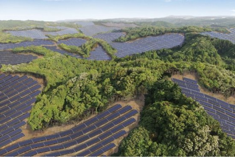 Japan's Abandoned Golf Courses Get Second Life As Solar Farms, Rendering of Kyocera's Kanoya Osaki Solar Hills project. Image © Kyocera
