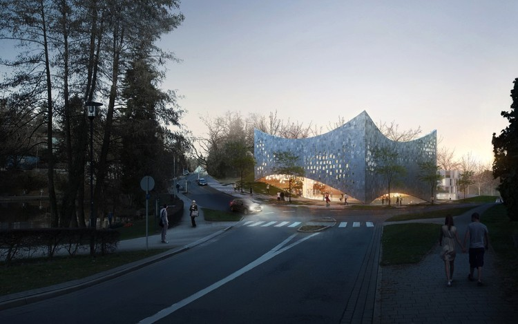 URBAN AGENCY Unveils Proposal for Kronberg School of Music, Exterior Rendered View. Image Courtesy of URBAN AGENCY
