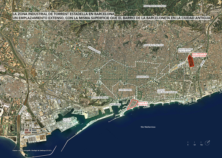 La zona industrial de Torrent Estadella en Barcelona
