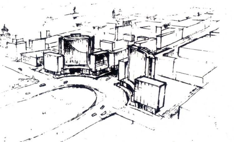 Apunte de la plaza circular planteada. Image vía Enrique Seoane Ros. Una búsqueda de raíces peruanas / José Bentín